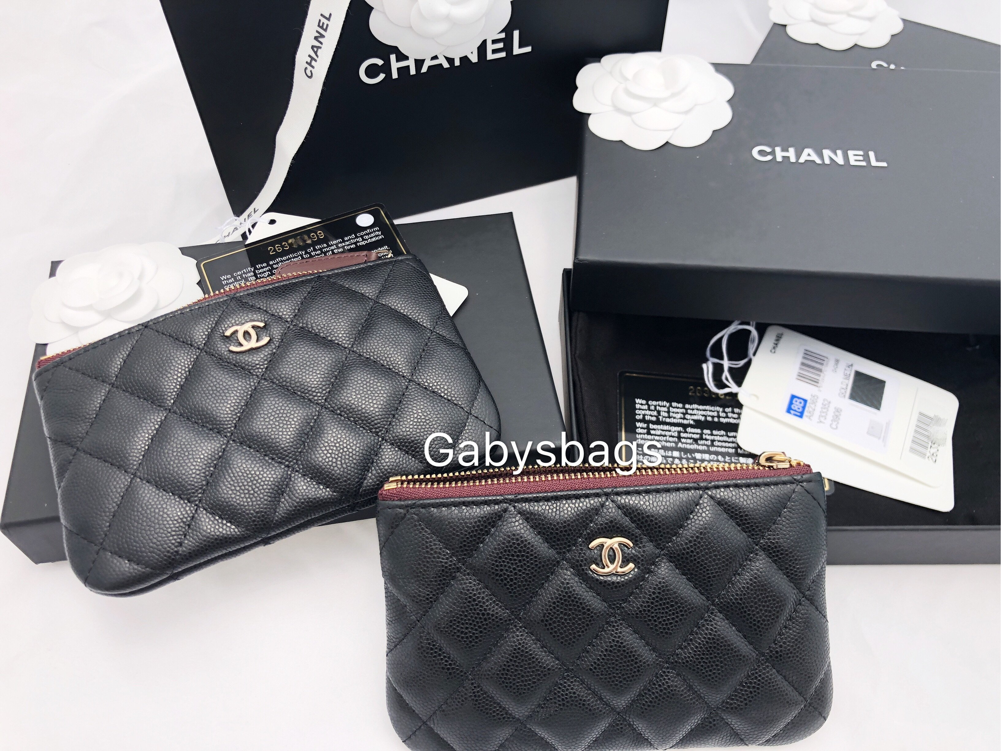 Chanel Caviar Small O Case Card Holder Cosmetic Black Zip Wallet ... 2e66065356