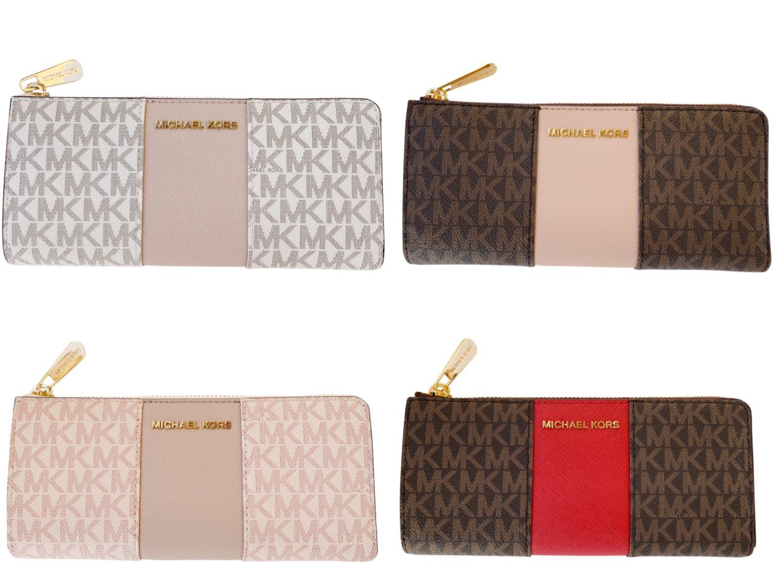 a2768b70b929 Michael Kors Jet set Travel 3/4 Zip Continental Wallet Vanilla Brown Pink  Fawn