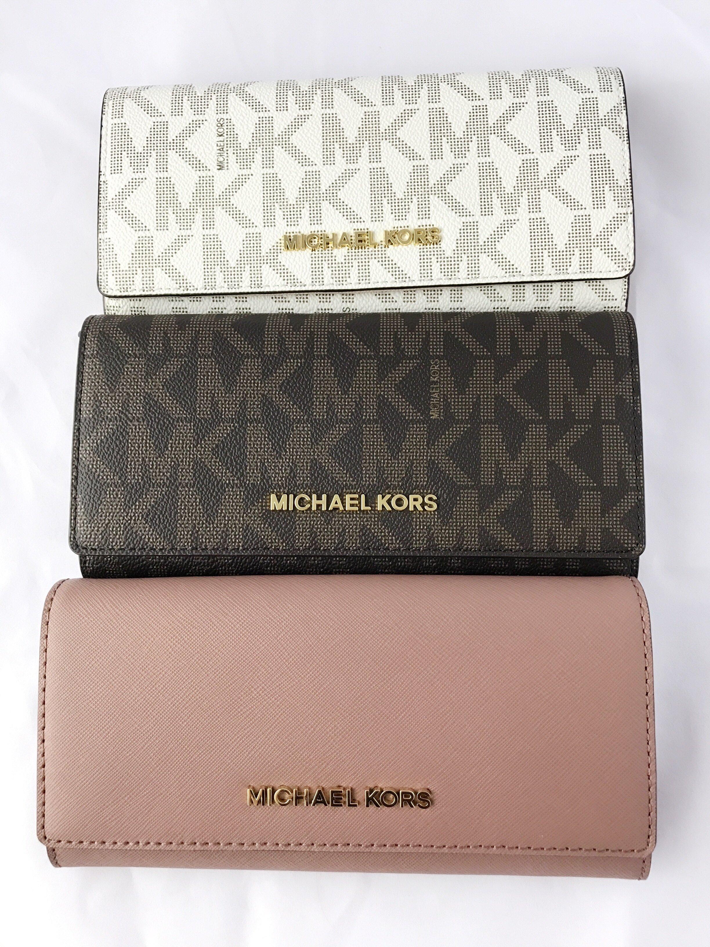 michael kors jet set travel wallet saffiano leather brown vanilla rh ebay com