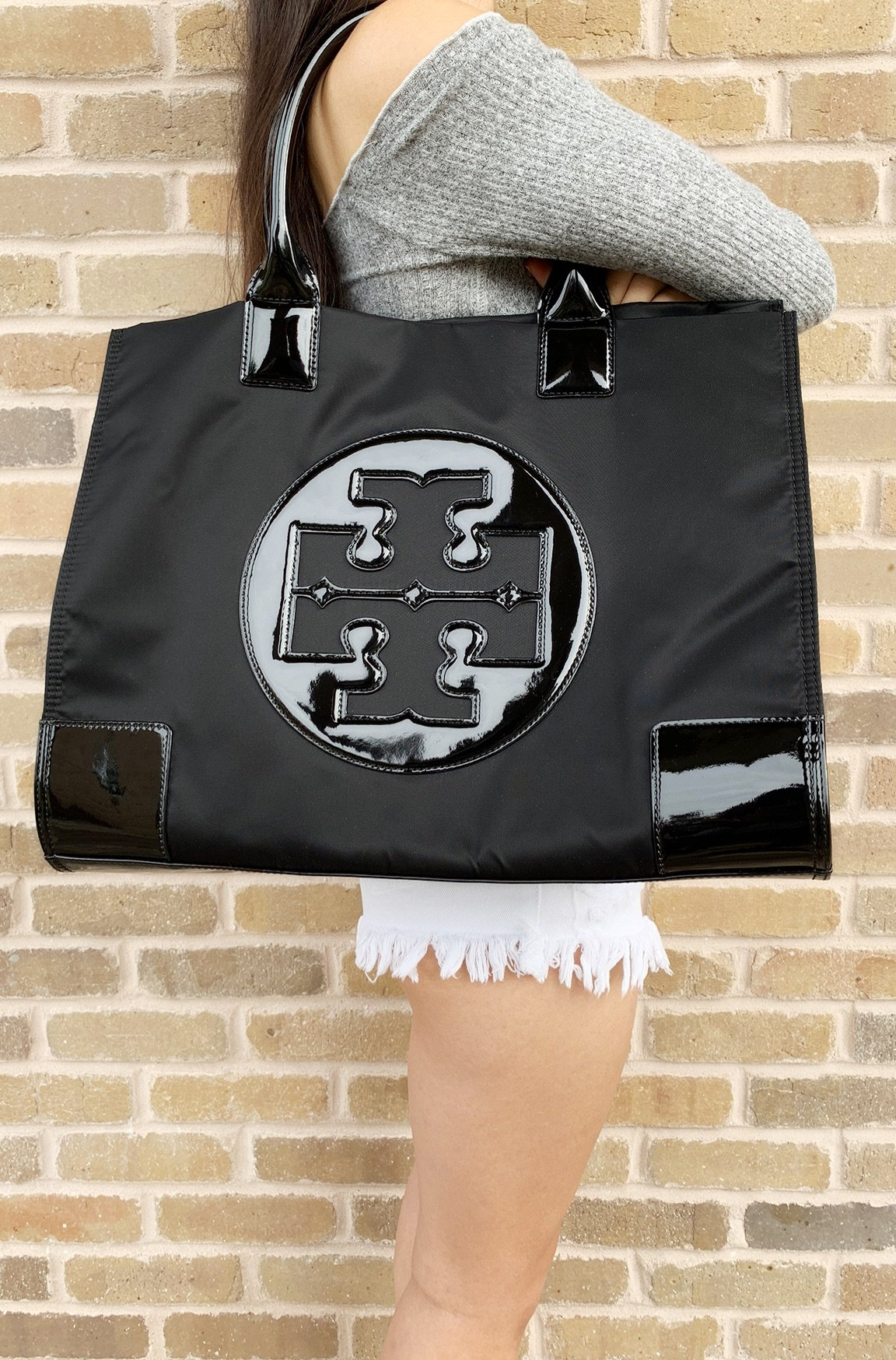 bd074fc5c27 Tory Burch Ella Large Tote Black Nylon Patent Leather 885427179320 ...