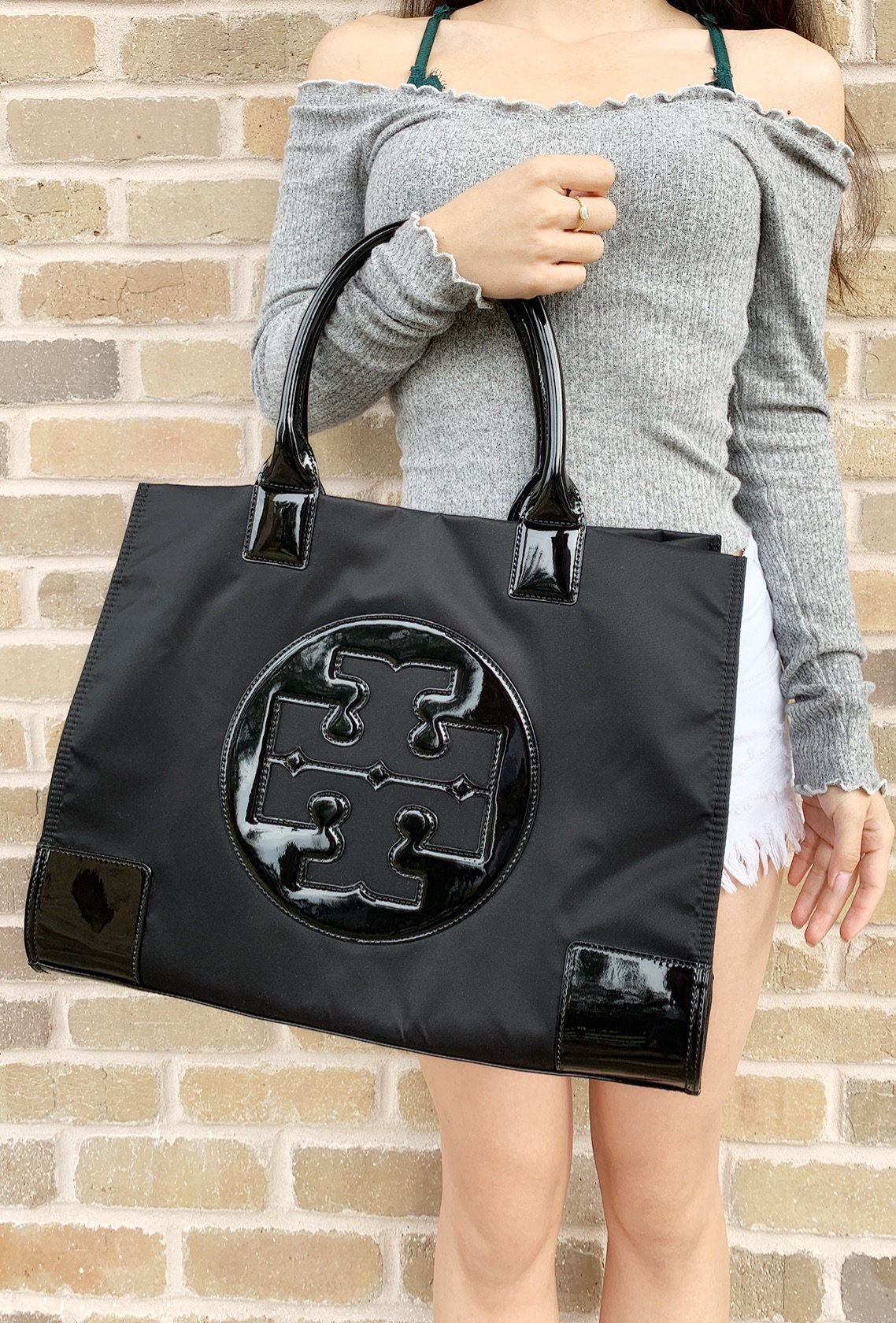 bf7353e3429d Tory Burch Ella Large Tote Black Nylon Patent Leather 885427179320 ...