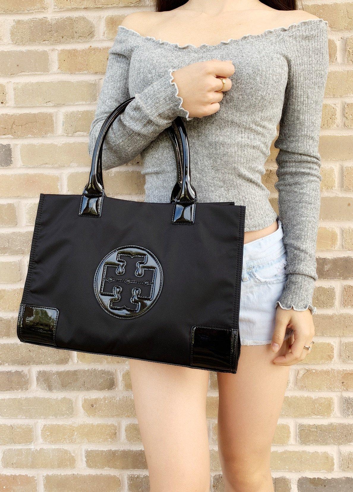 4500fc959b Tory Burch Ella Mini Tote Black Nylon Patent Leather 886762158551 | eBay