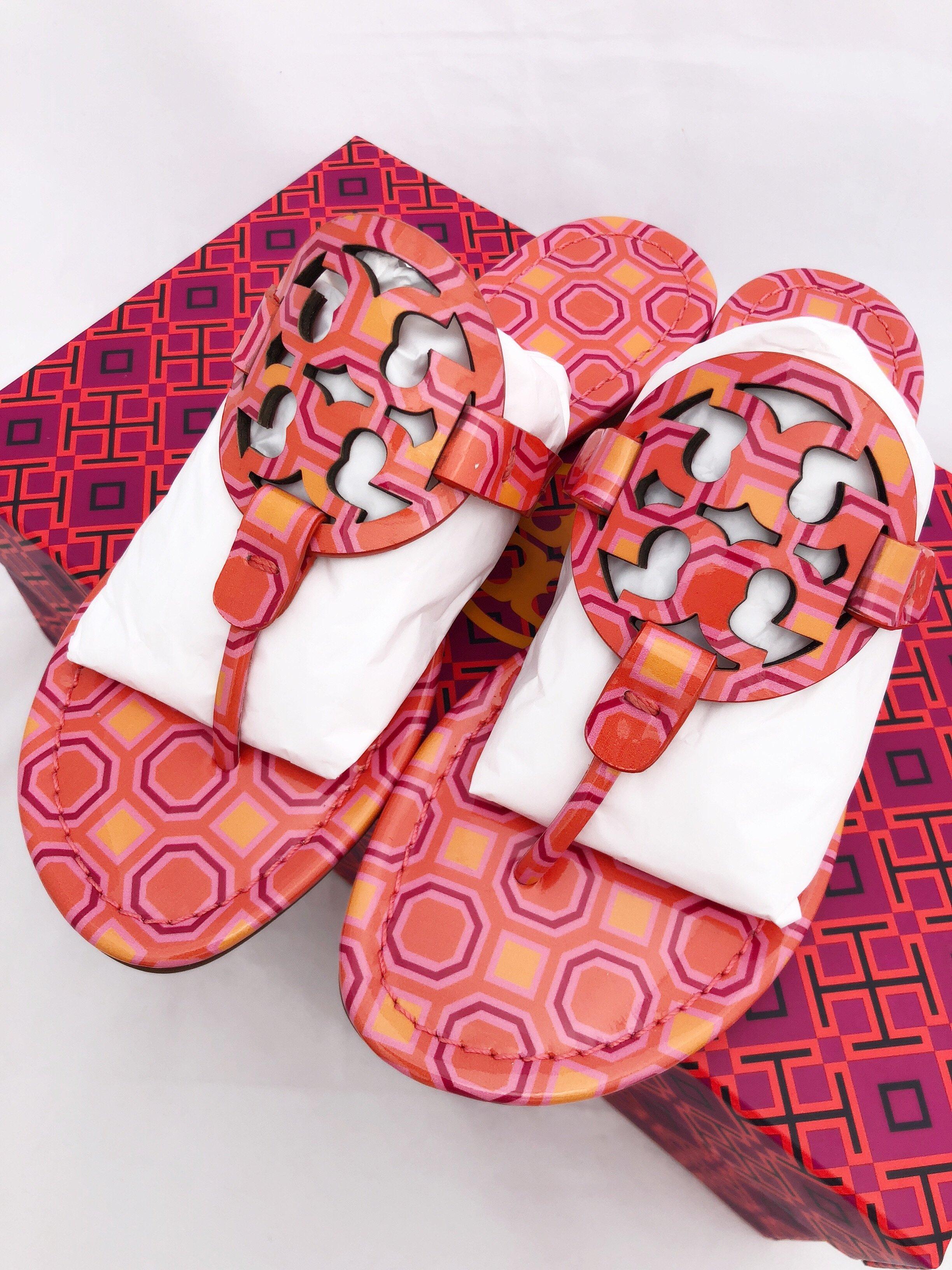 dd03e9144 Tory Burch Miller Sandals Flip Flop Orange Coral Pink 7 7.5 8 8.5 10 ...