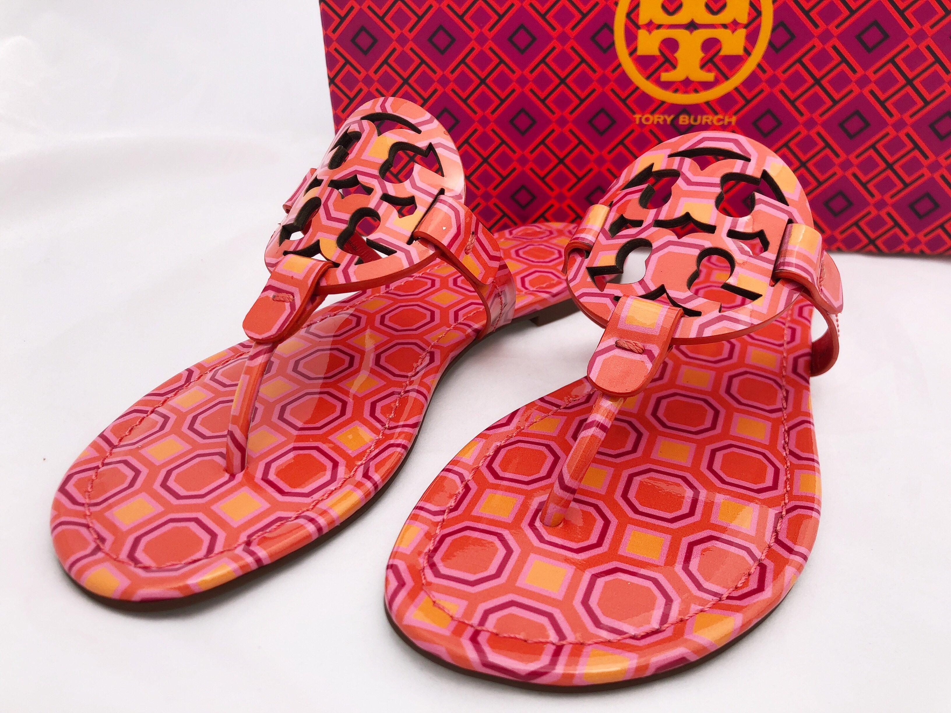 7acebfce77ec Tory Burch Miller Sandals Flip Flop Orange Coral Pink 7 7.5 8 8.5 10 ...