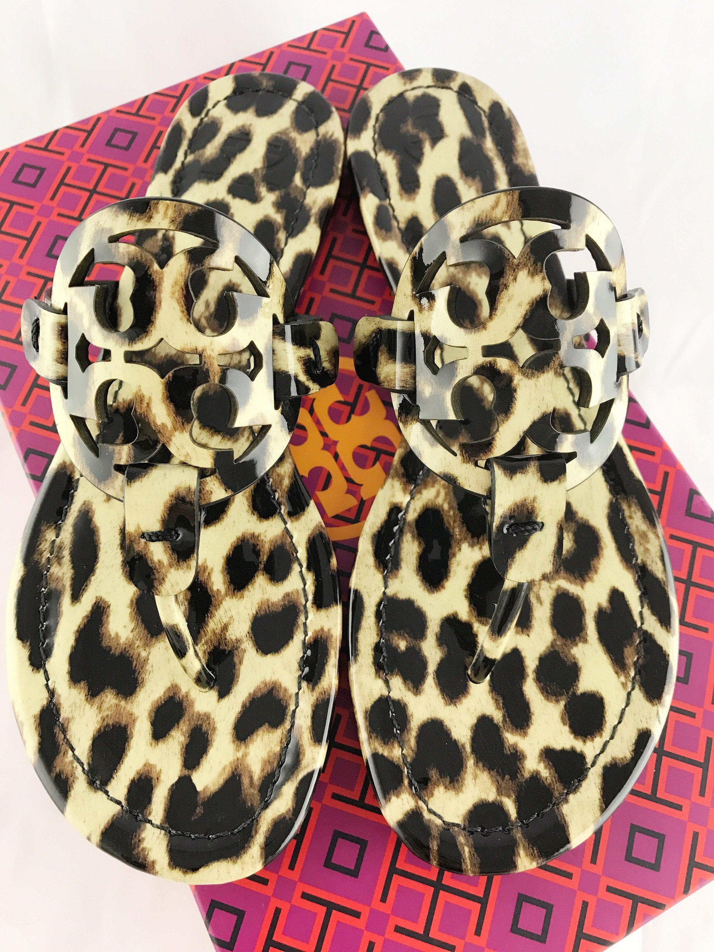 05bdf7ce0d654 Tory Burch Miller Sandals Flip Flop Leopard 7 7.5 8 8.5 10