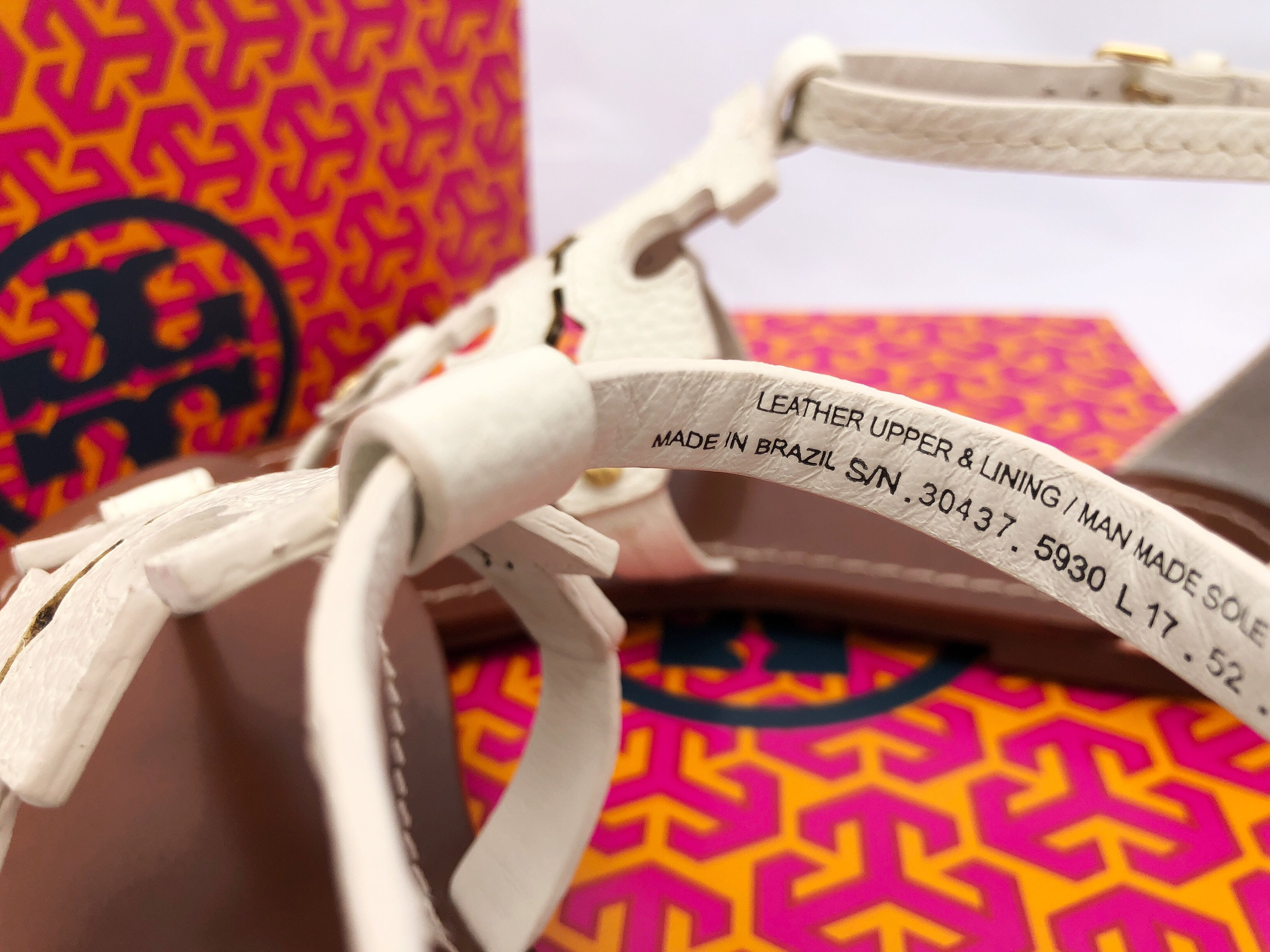 4567a0fc8 Tory Burch Phoebe Flat Thong Sandals Ivory White Leather Miller Logo ...