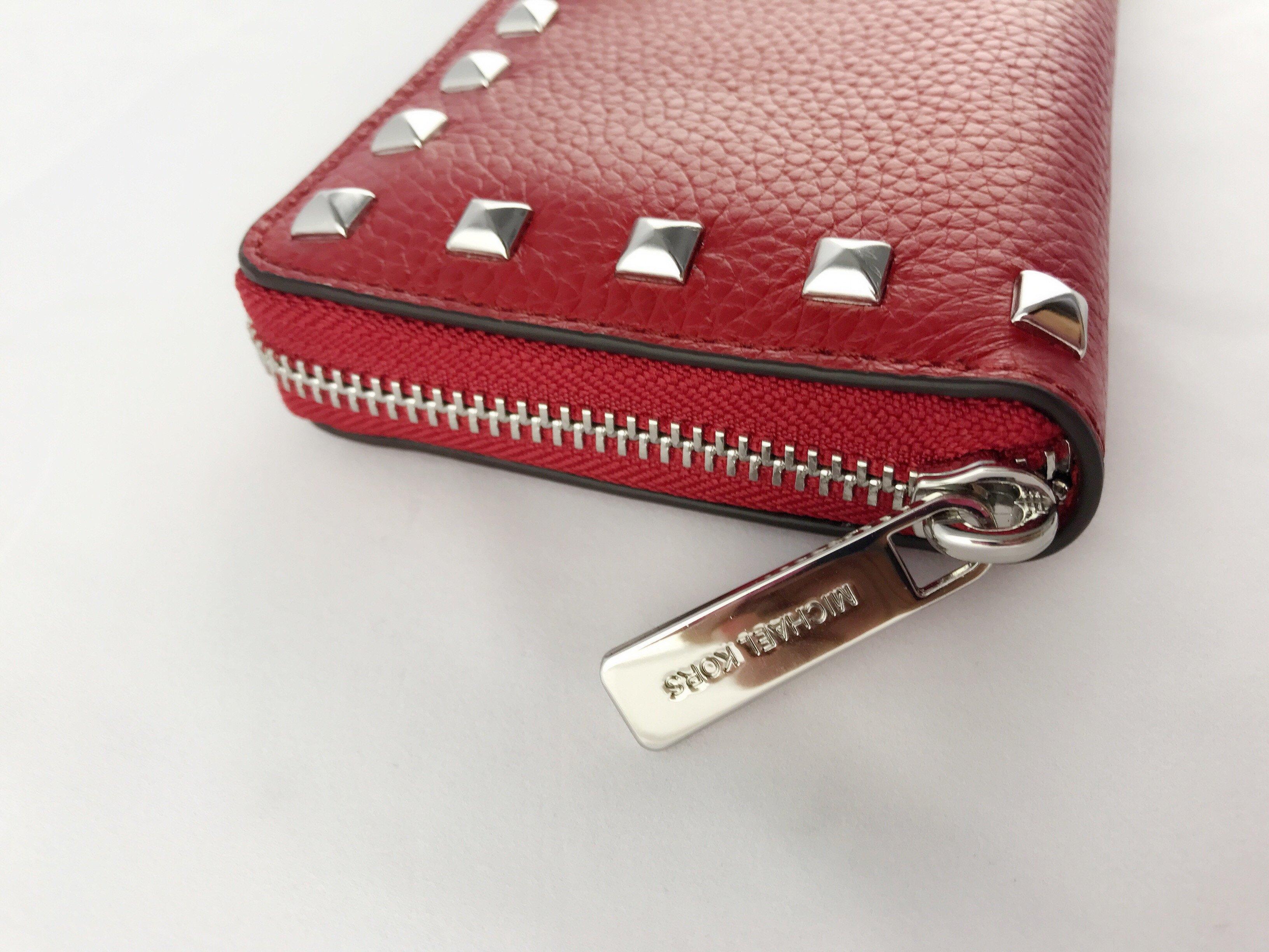 80785dd5407a Michael Kors Jet Set Continental Zip Around Wallet Studded Red Blue ...