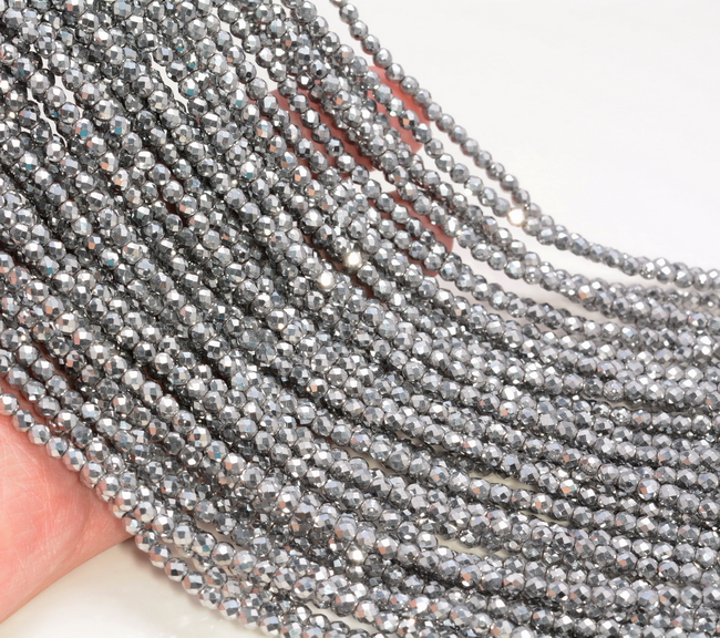 Gold Hematite Gemstone Grd AAA Micro Faceted Round 2mm 3mm 4mm Loose Beads A261
