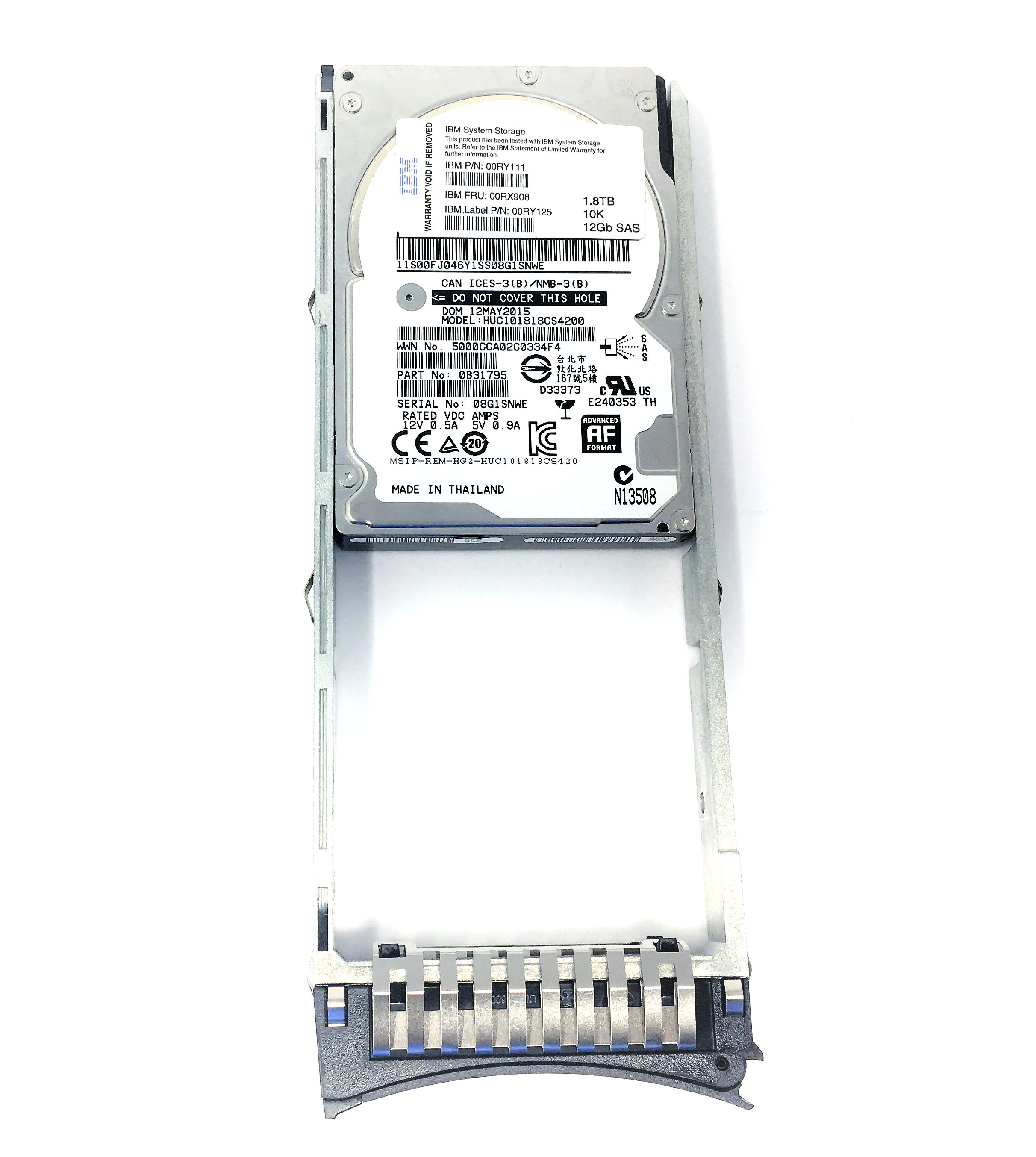 Details about 00RY125 IBM 1 8TB 10K 12Gbps SAS 2 5'' Hard Drive 2076-AHF4