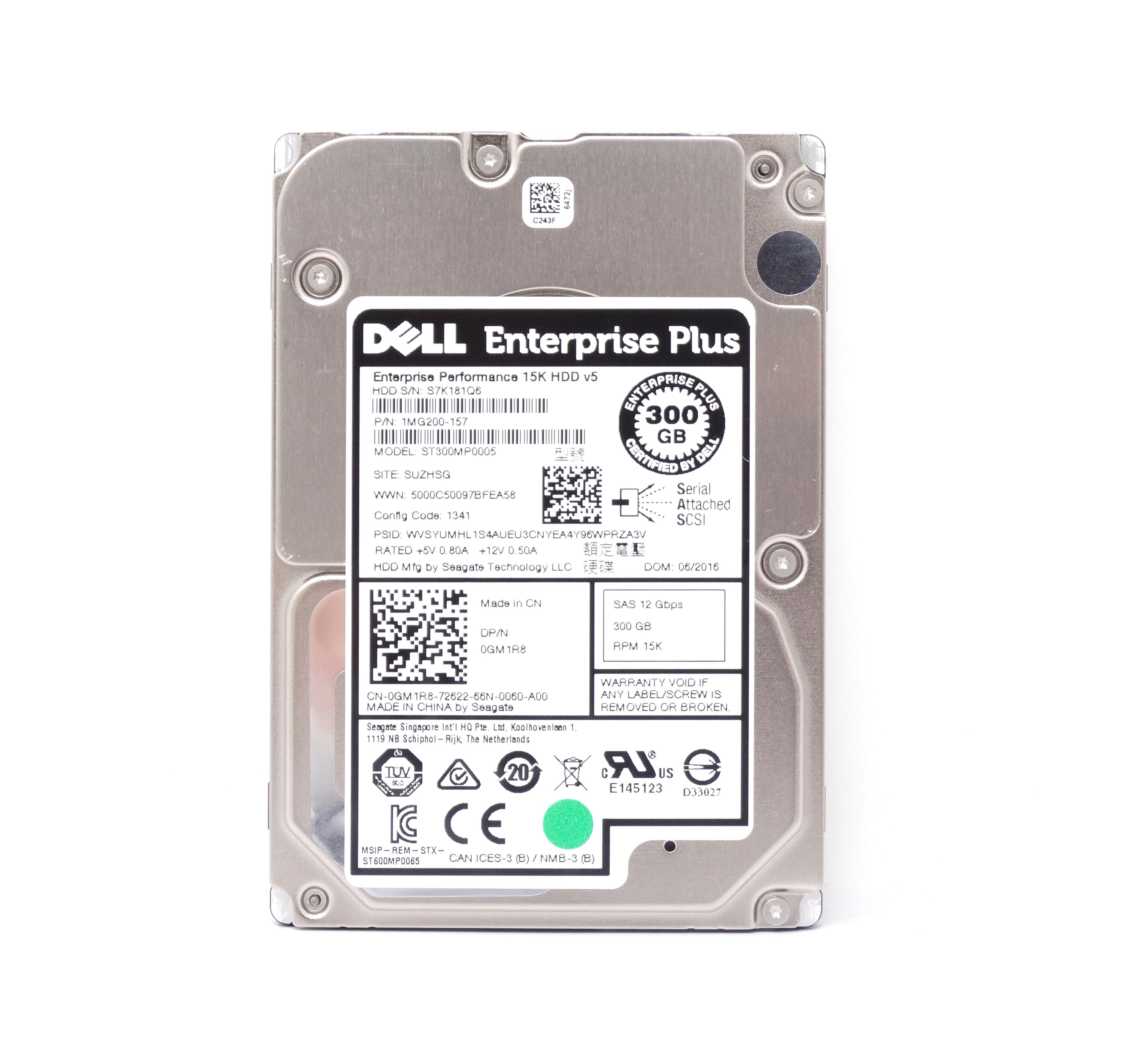 """Dell Enterprise 300GB 15K SAS 12Gbps 2.5/"""" Hard Drive 0RVDT"""
