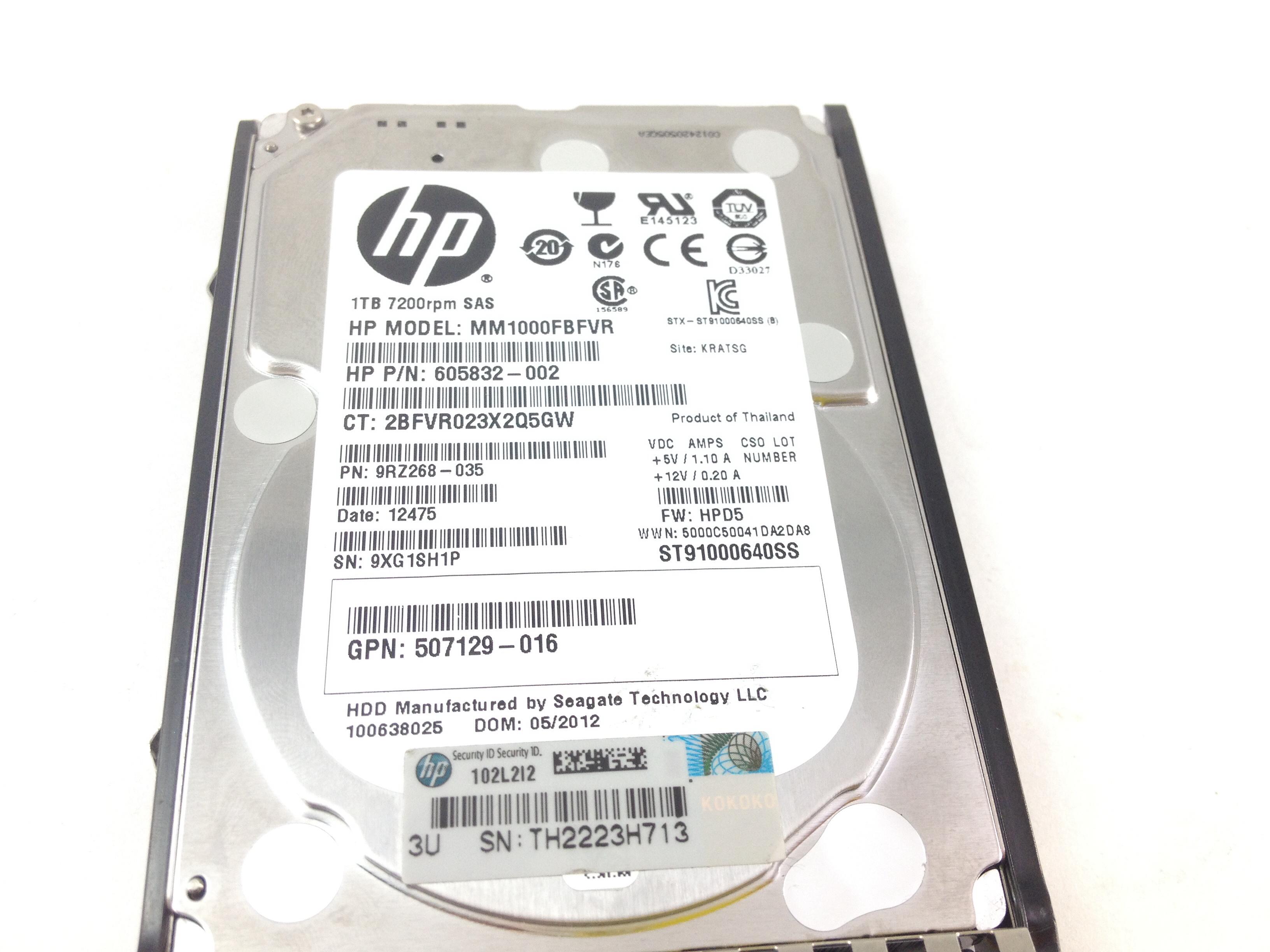 "HP 1TB 2.5/""  SAS 6Gbps HDD st91000640ss Tray Caddy incl  MM1000FBFVR 605832-002"