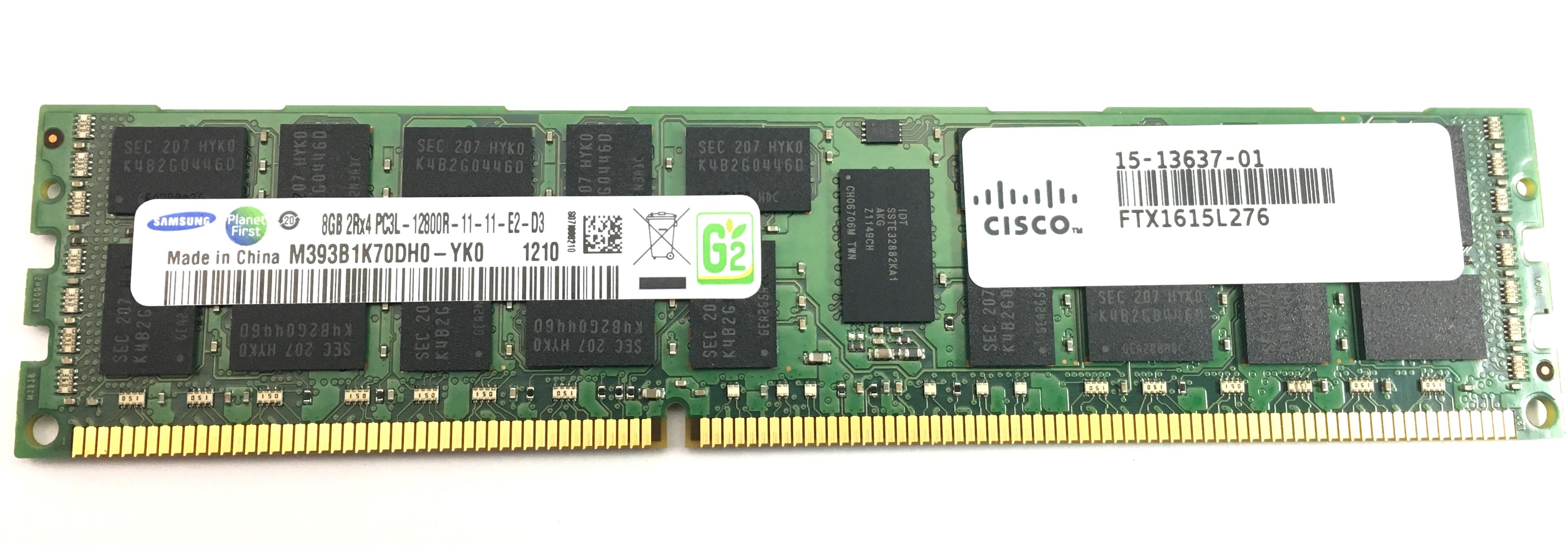 4x Samsung 8GB 1Rx4 PC3L-12800R server memory DDR3 REG-ECC M393B1G70BH0-YK0 32Gb