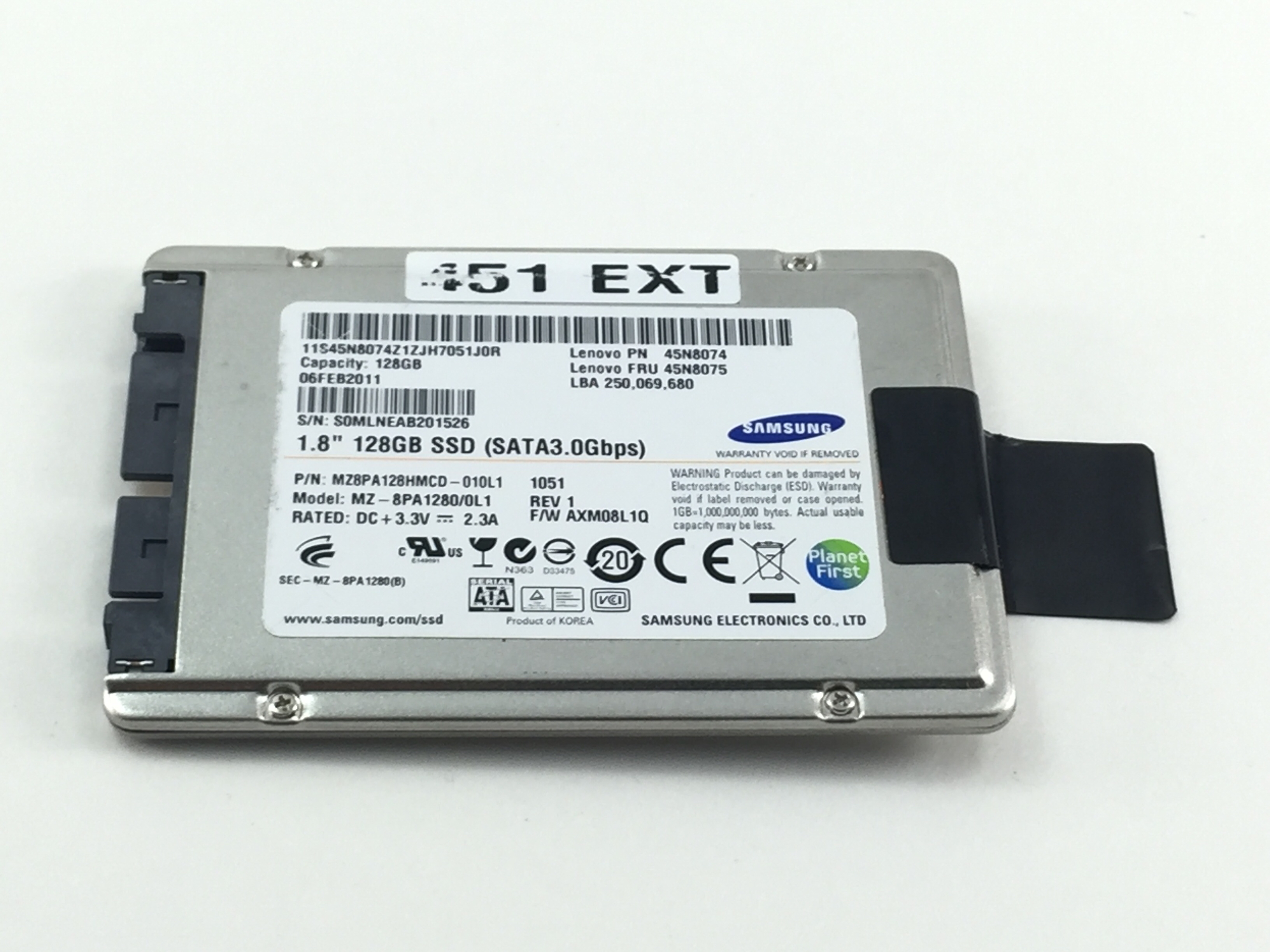 Lenovo Samsung 128GB 3Gbps SATA 1 8 Solid State Hard Drive