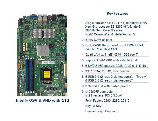 Supermicro Motherboard MBD-X11SSM-F-B Xeon E3-1200 v5 LGA1151 Socket H4 C236