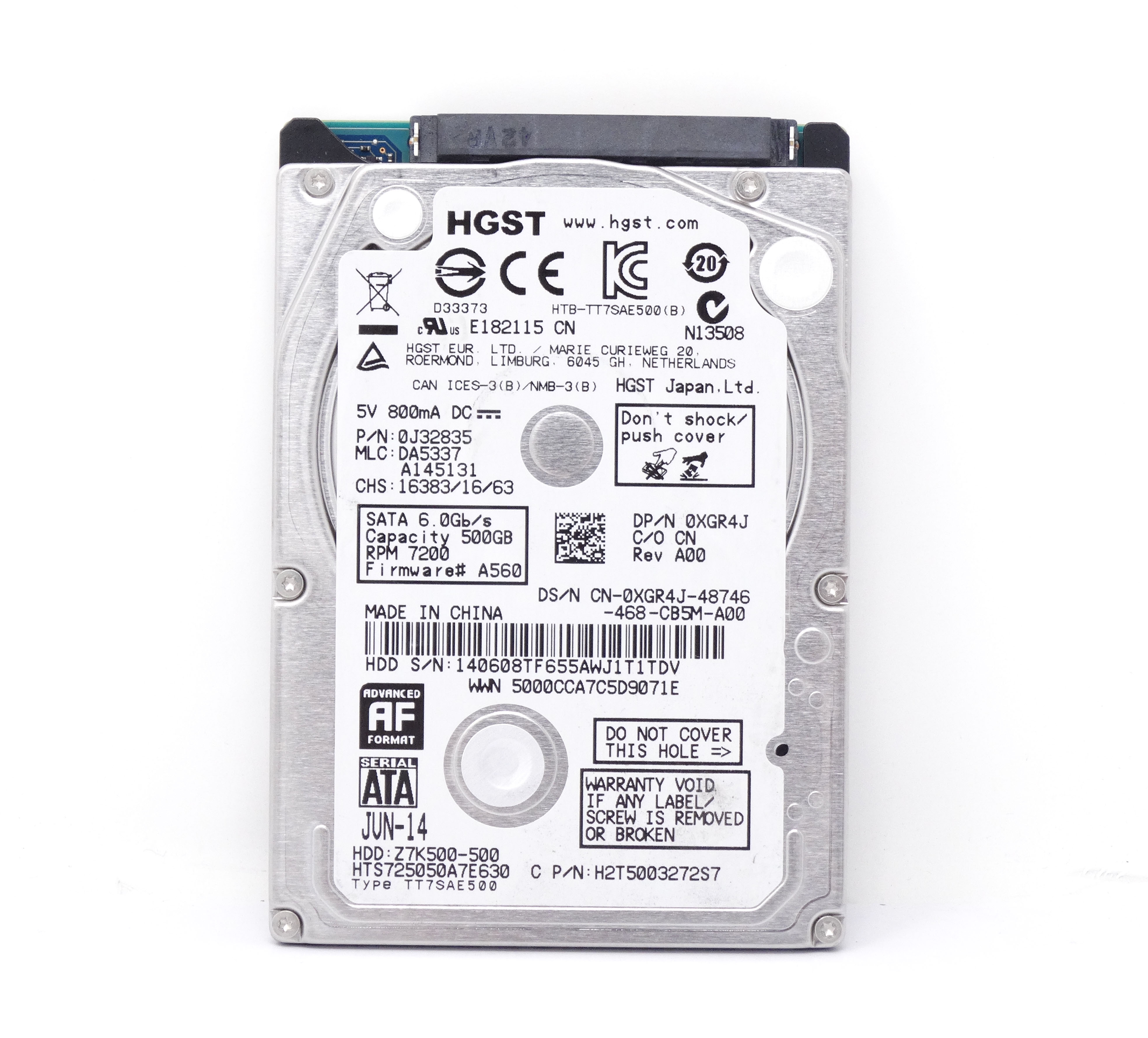 Details about XGR4J DELL 500GB 7 2K 6GBPS 2 5'' SATA LAPTOP HARD DRIVE