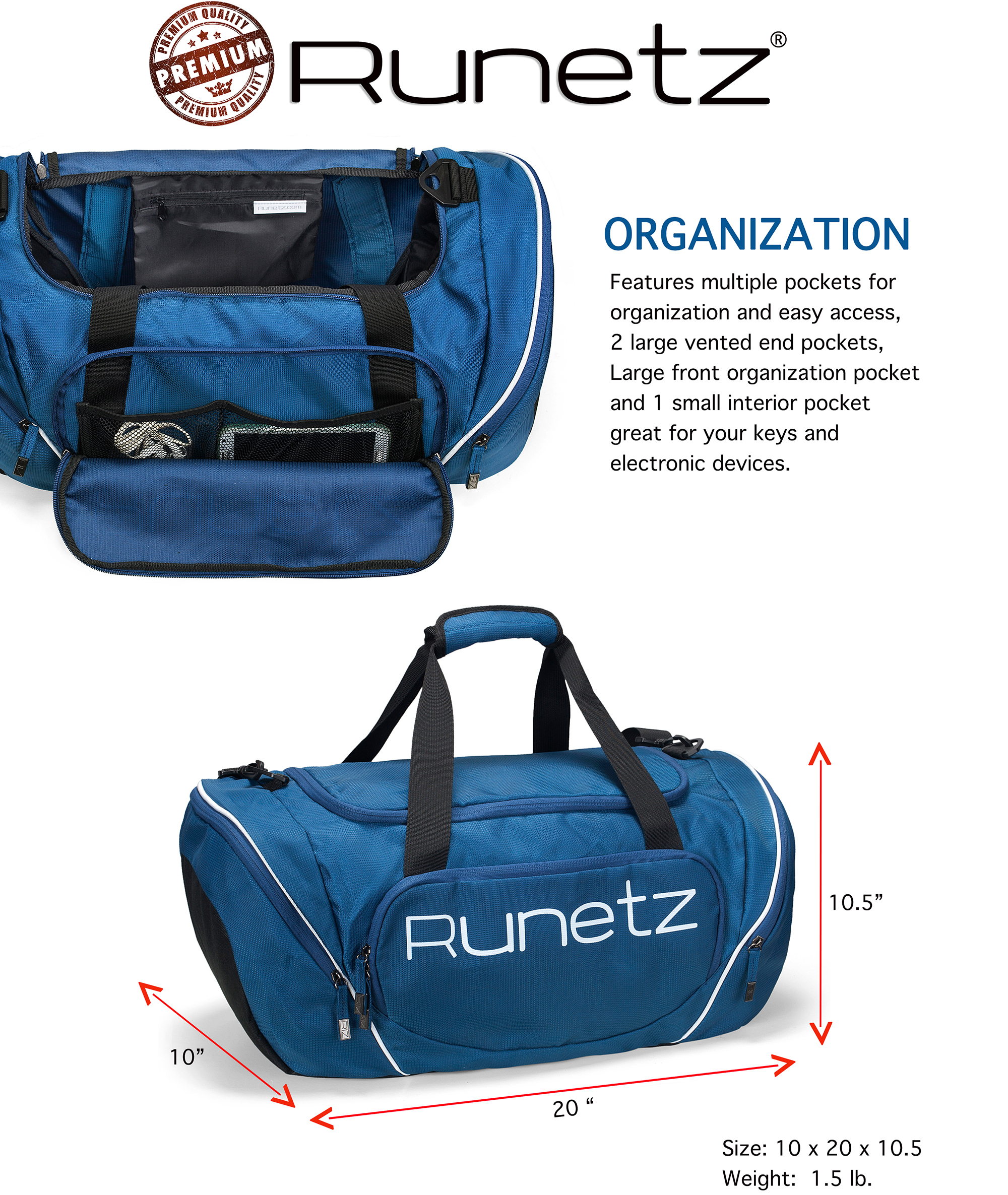 Runetz Gym Bag for Women and Men Duffle Bag with Wet Pocket, Travel Gym Bag  with ... 2636541327