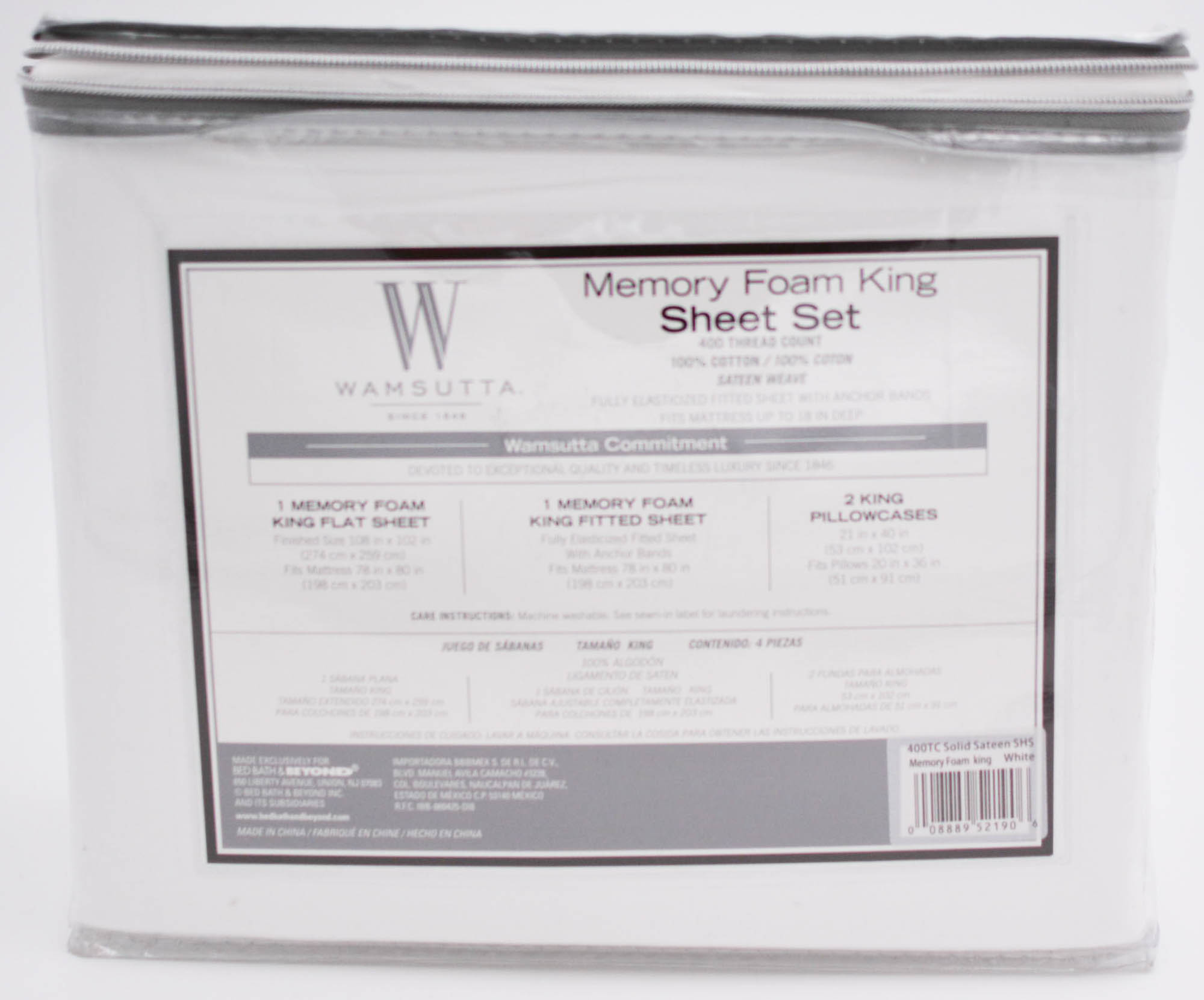 Wamsutta-Memory-Foam-400-Thread-Count-Sheet-Set-Size-King-White-Ivory thumbnail 8