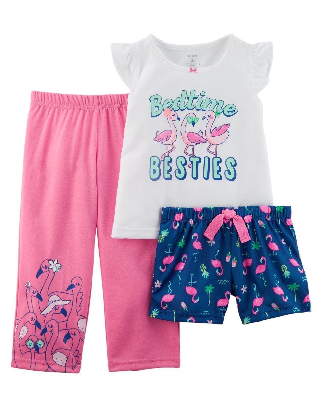 d929ae660f03 Carter s Girls 3 Piece Flamingo PJs Pajama Set New