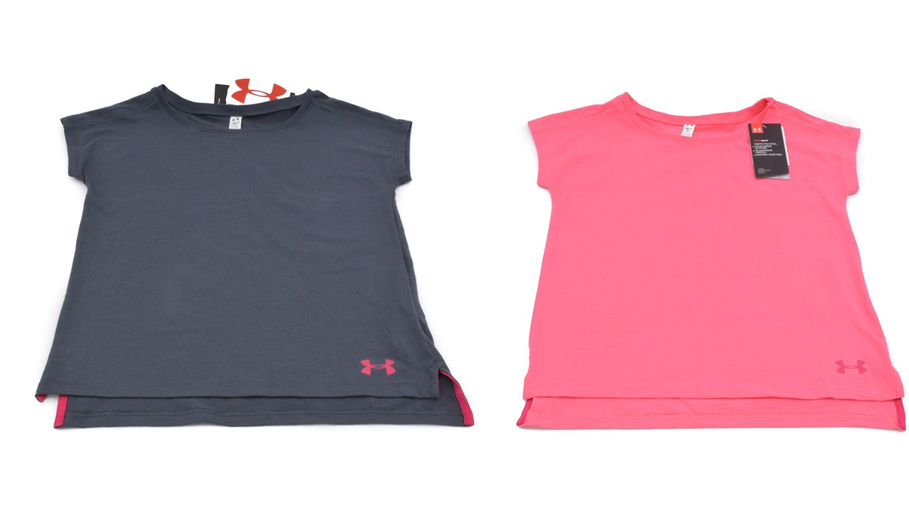 10-12 Under Armour Big Girls Tee Shirt Raglan Sleeves Size  YSM YMed 7-8