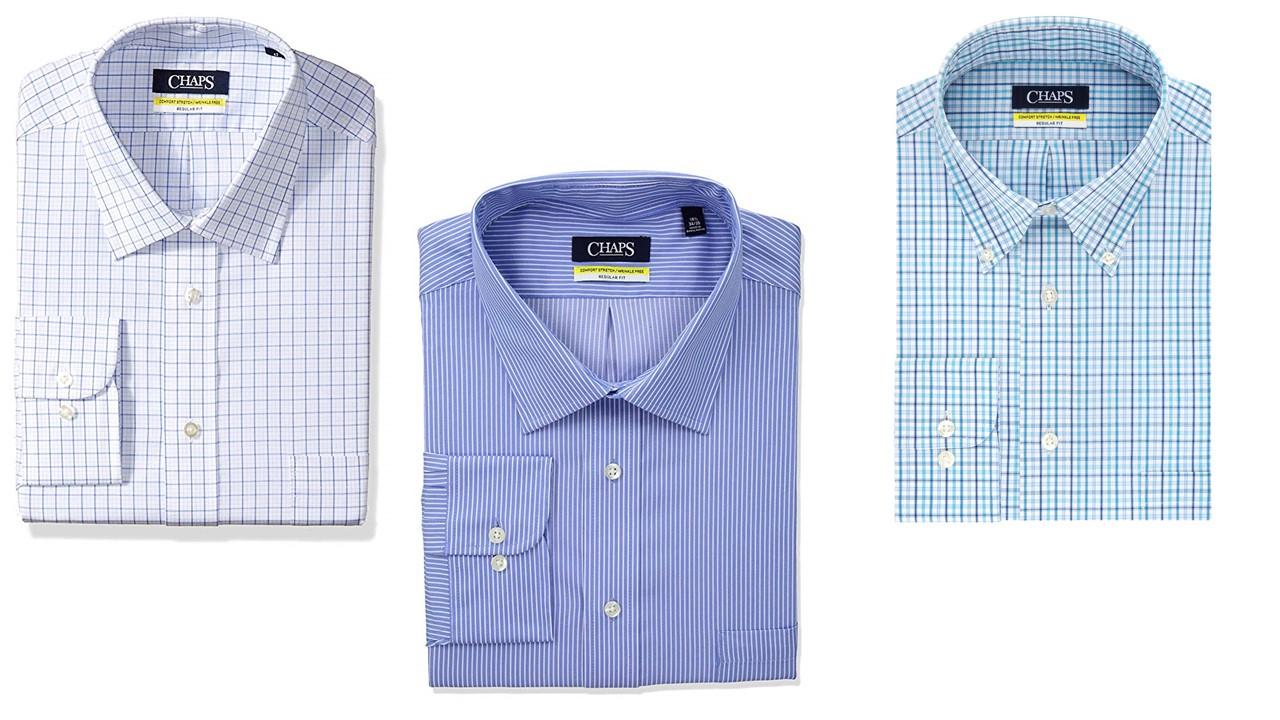 Size 16 1//2-36//37 Burgundy//Multi Checks Chaps Mens Classic Fit Shirt