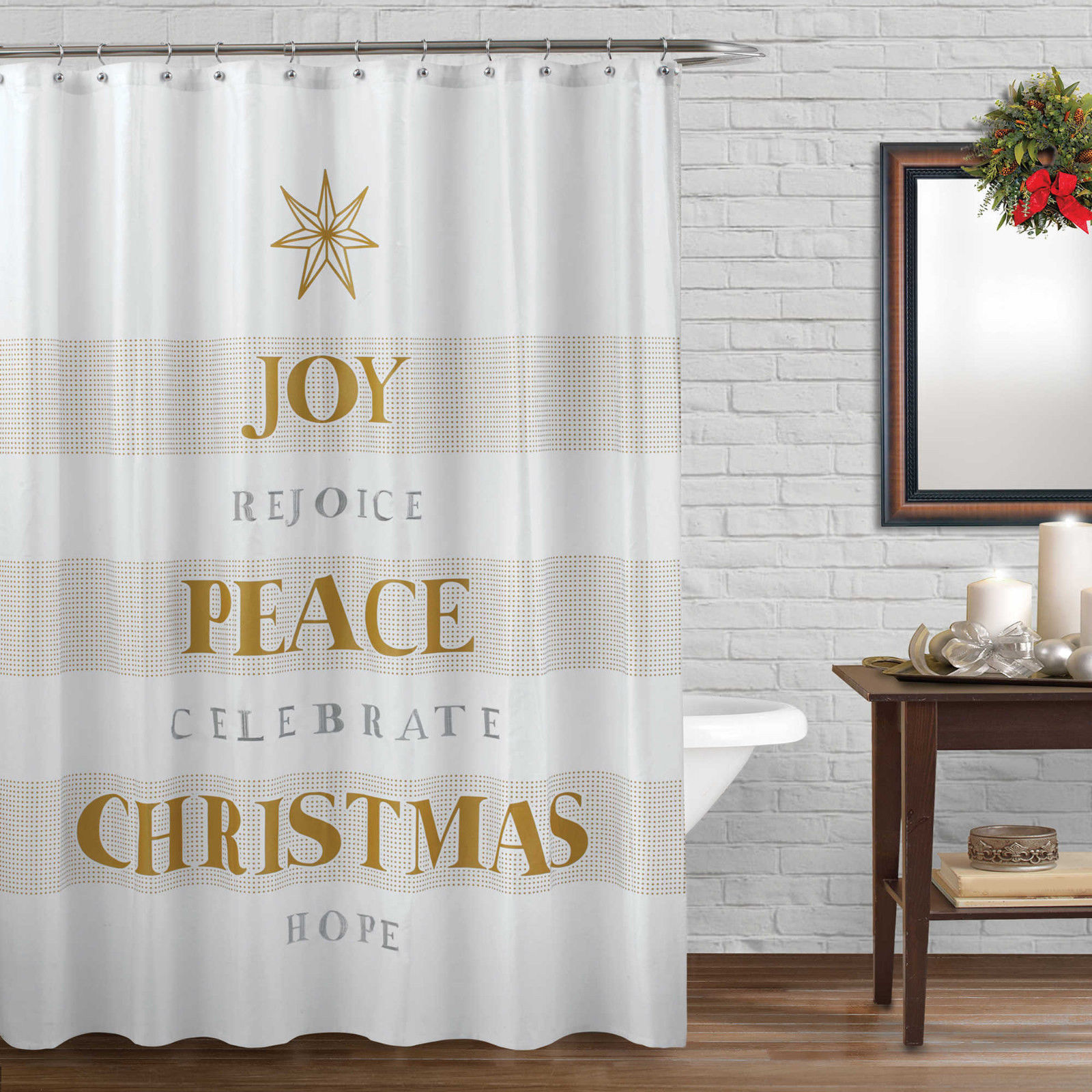 Details About Winter Wonderland Celebrate Fabric Shower Curtain Size 72 X 72 Inches