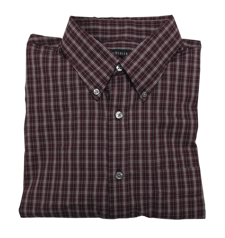 Van Heusen Mens Size Large 16 165 Ls Plaid Dress Shirt Burgundy
