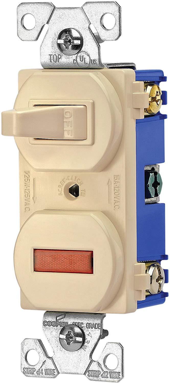 Cooper Wiring Toggle Switch  U0026 Pilot Light Combination