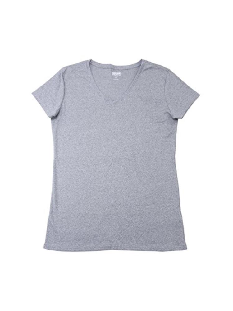 Women/'s Kirkland Signature Pima Cotton V-Neck Tee Color Grey Heather