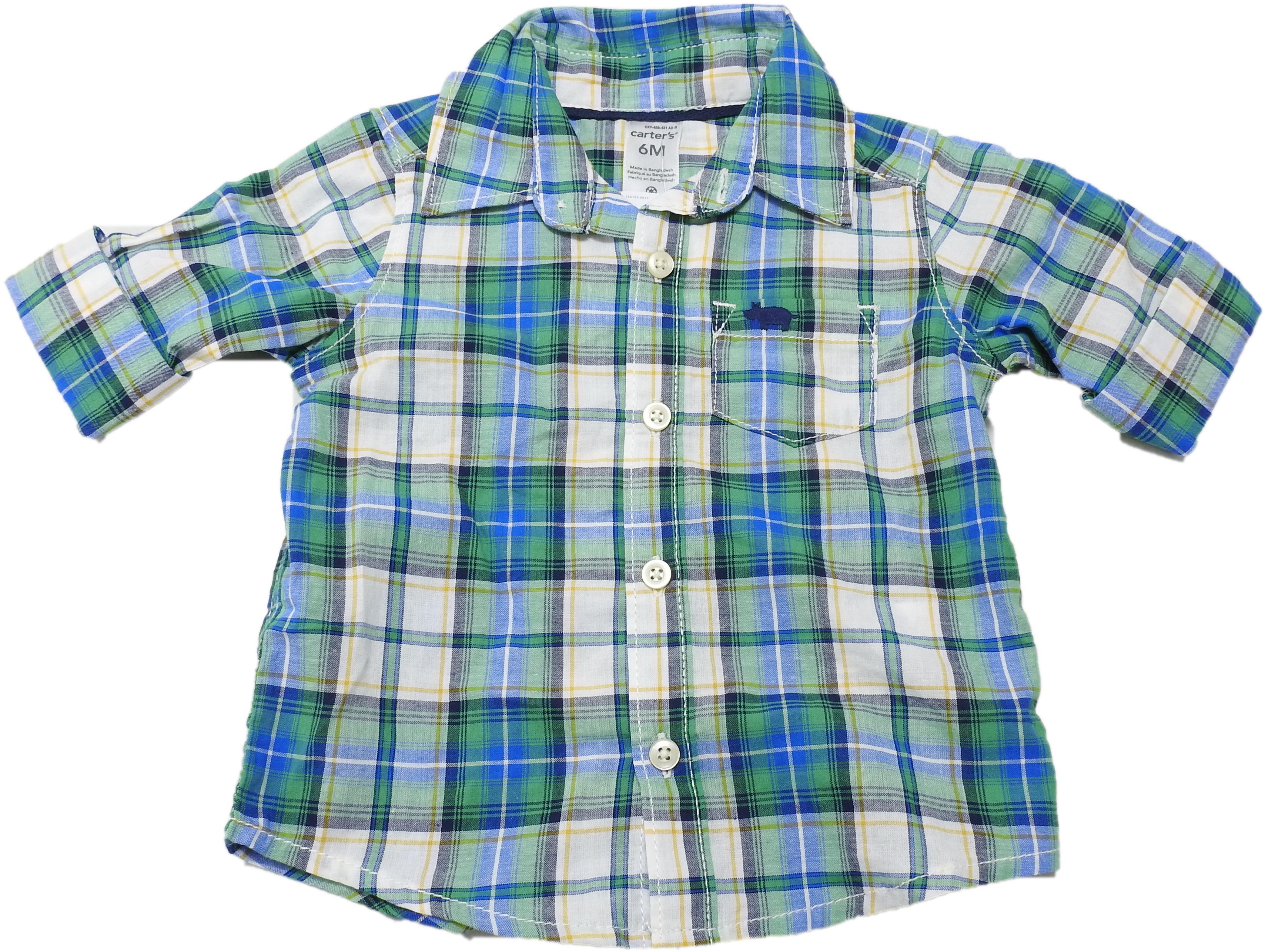 2T Carters Little Boys Blue Plaid Button Front Long Sleeve Shirt