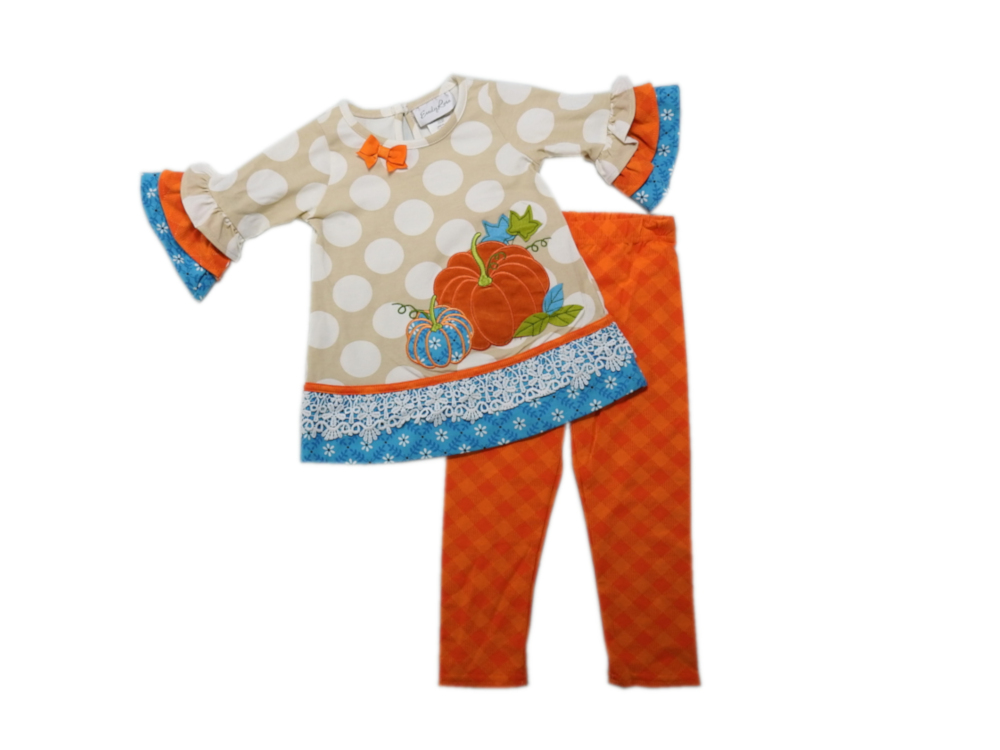 NWT Girls EMILY ROSE White Orange Tan Thanksgiving Pumpkin Set Sz 18 months