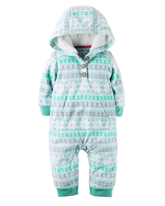 183376e067af Carter s Baby Girl Size 18 Months Fleece Hooded 1-Piece Jumpsuit ...
