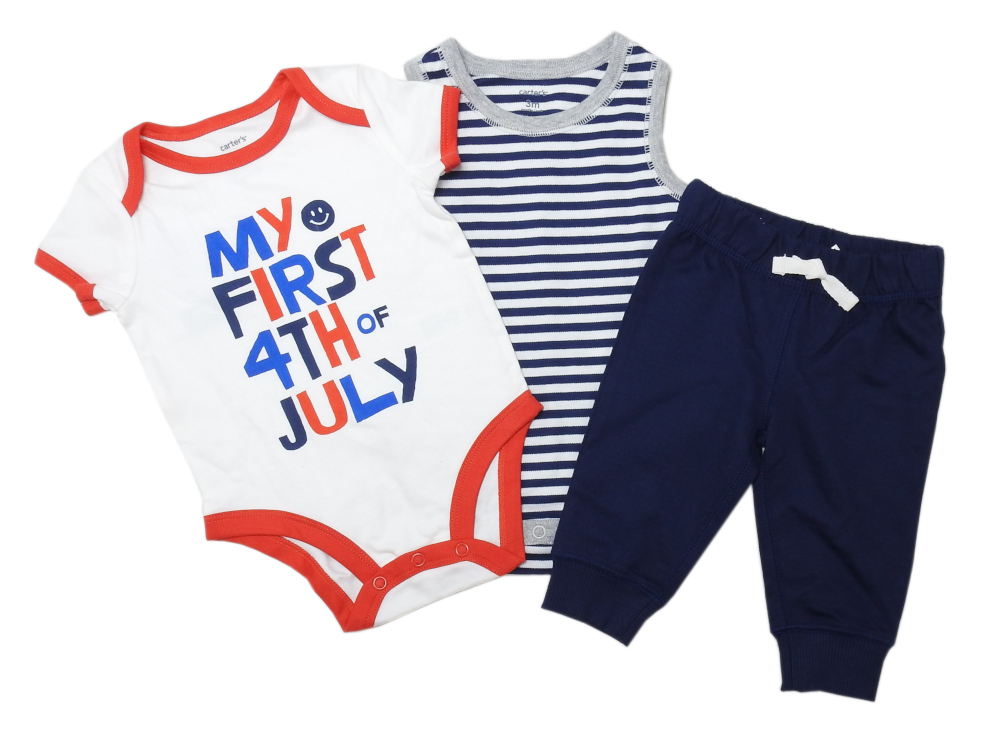"""Carters Baby Girls 4th of July /""""Hooray For The USA!/"""" 3-Piece Set Red//White//Blue"""