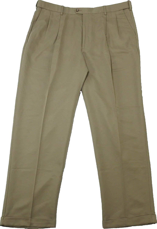 Khaki Savane Mens Comfort Waist Microfiber Performance Pleated Dress Pants