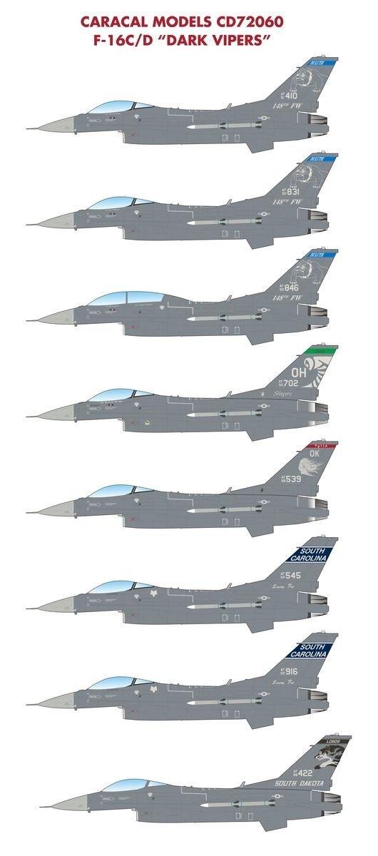 Caracal Models 1/72 decal CD72060 F-16C/D Dark Vipers ...