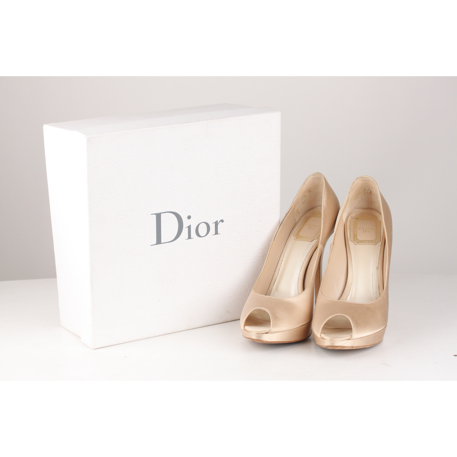 3864e980eb Christian Dior classic open toe pumps - Beige satin - Covered heels -  Almond toes - Platform - Size: 38 (The size shown for this item is the size  indicated ...