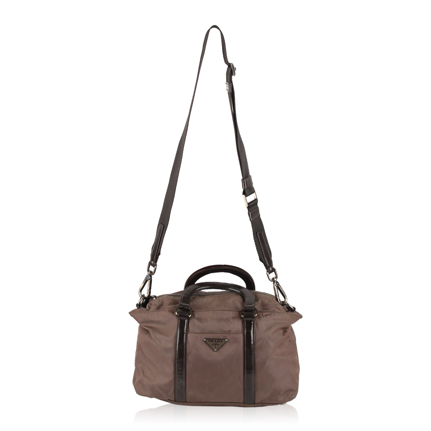 7bb356e0be14 PRADA taupe Satchel bag in Nylon  Vela  canvas with leather trim and  handles. It features front and rear open pockets