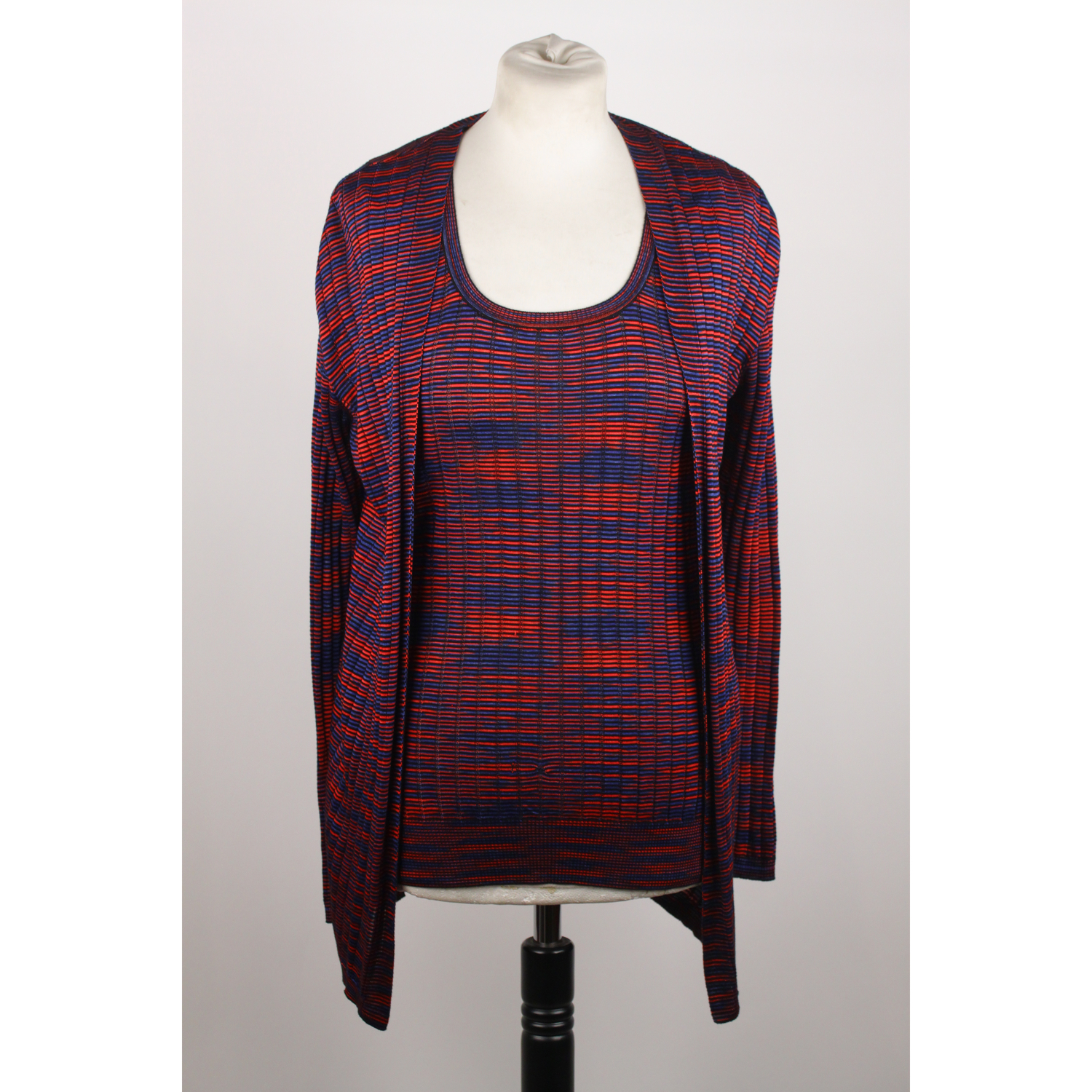 ed0dc22cda02 Details about Authentic M Missoni Blue Red Light Weight Knit Twin Set Vest Cardigan  Size 42