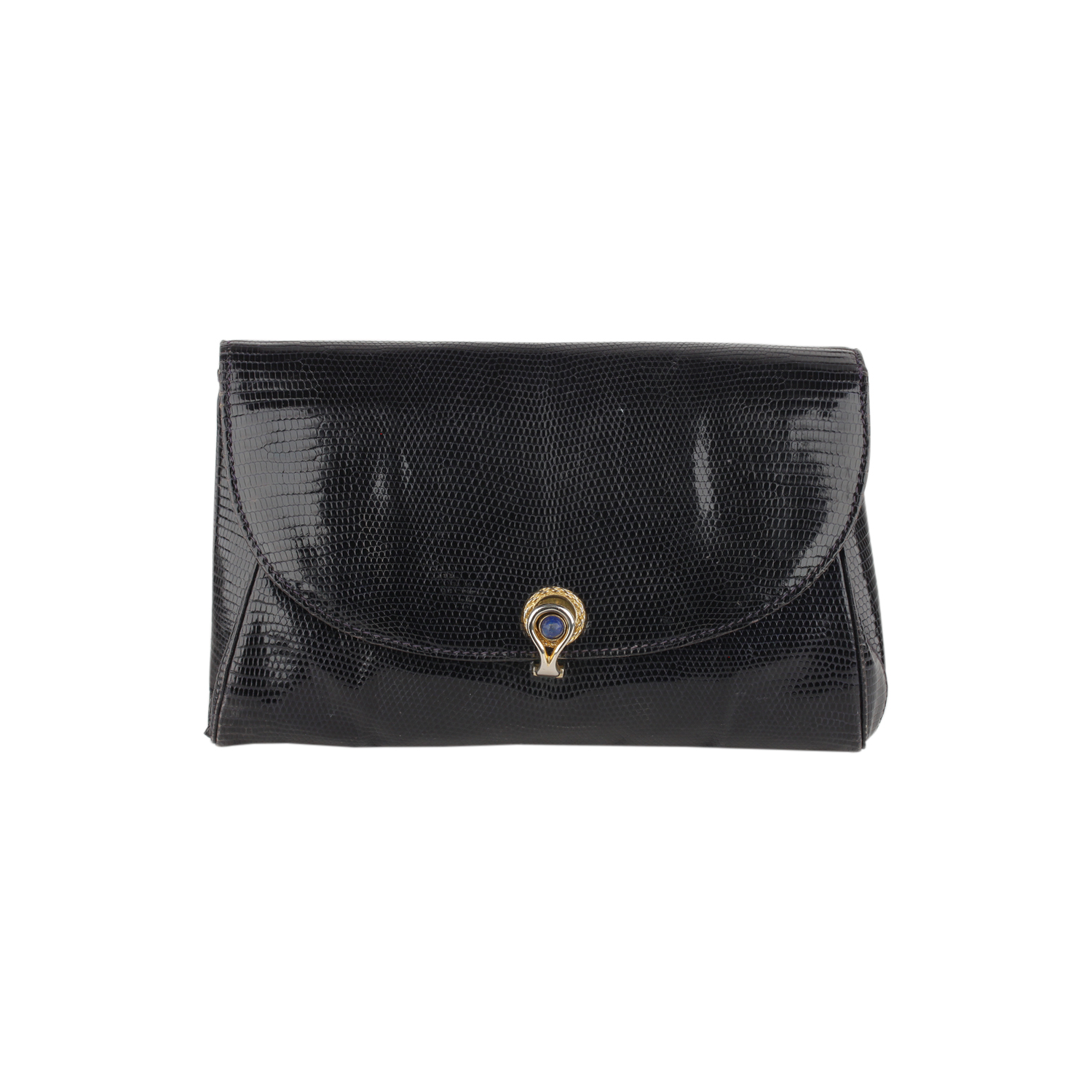 a39bb1c0a2ed Authentic Gucci Vintage Navy Blue Lizard Leather Clutch Evening Bag ...