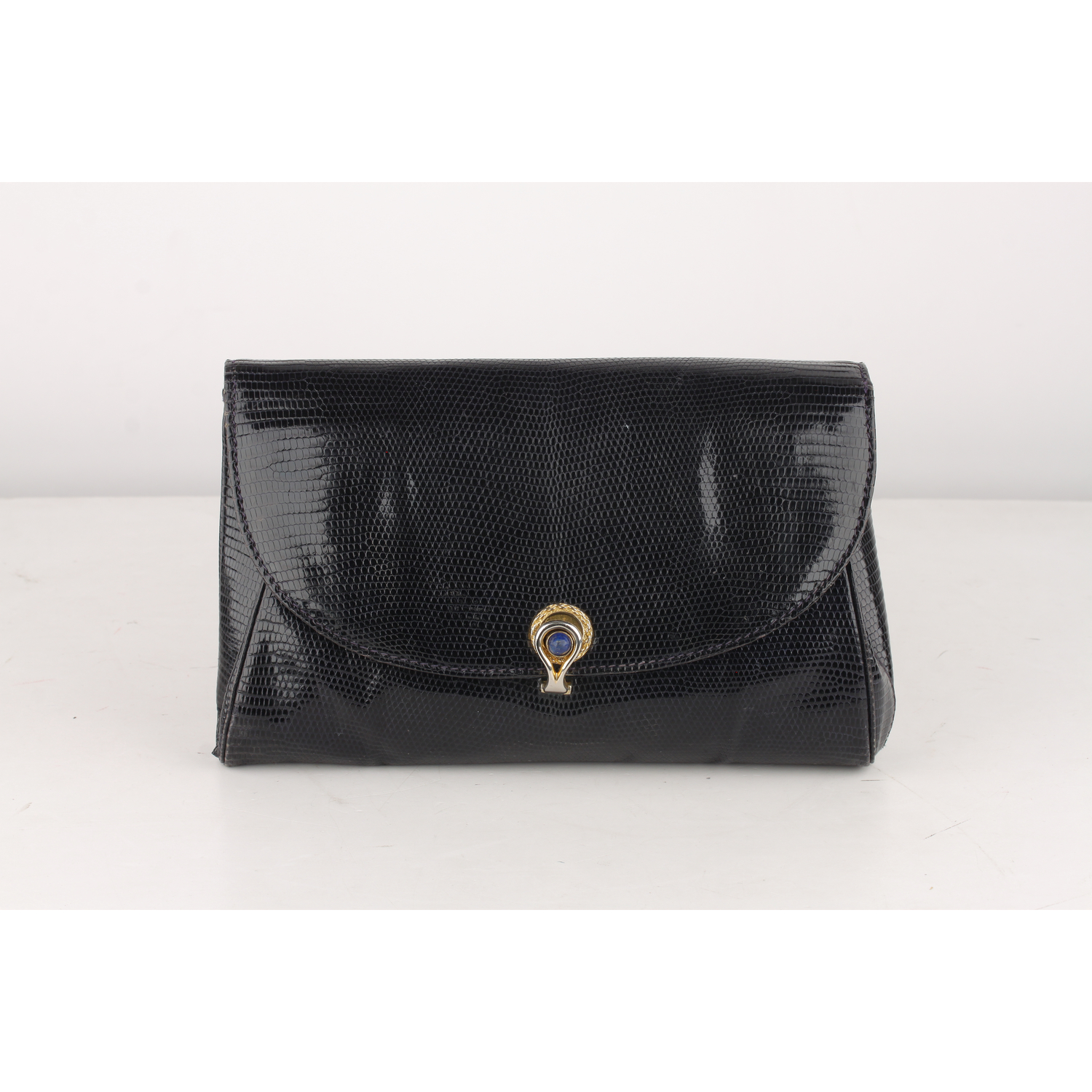 ea55464978e Image is loading Authentic-Gucci-Vintage-Navy-Blue-Lizard-Leather-Clutch-