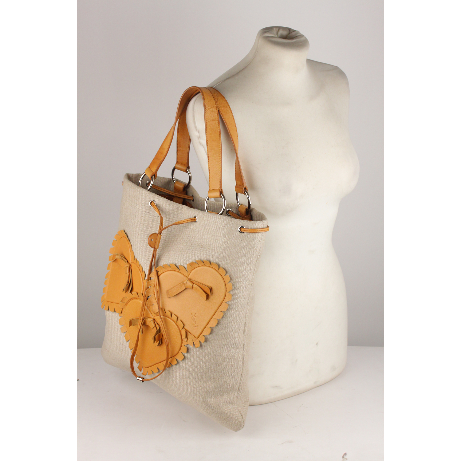 91d0703ae070 Details about Authentic Yves Saint Laurent Tan Canvas and Leather Hearts Tote  Bag
