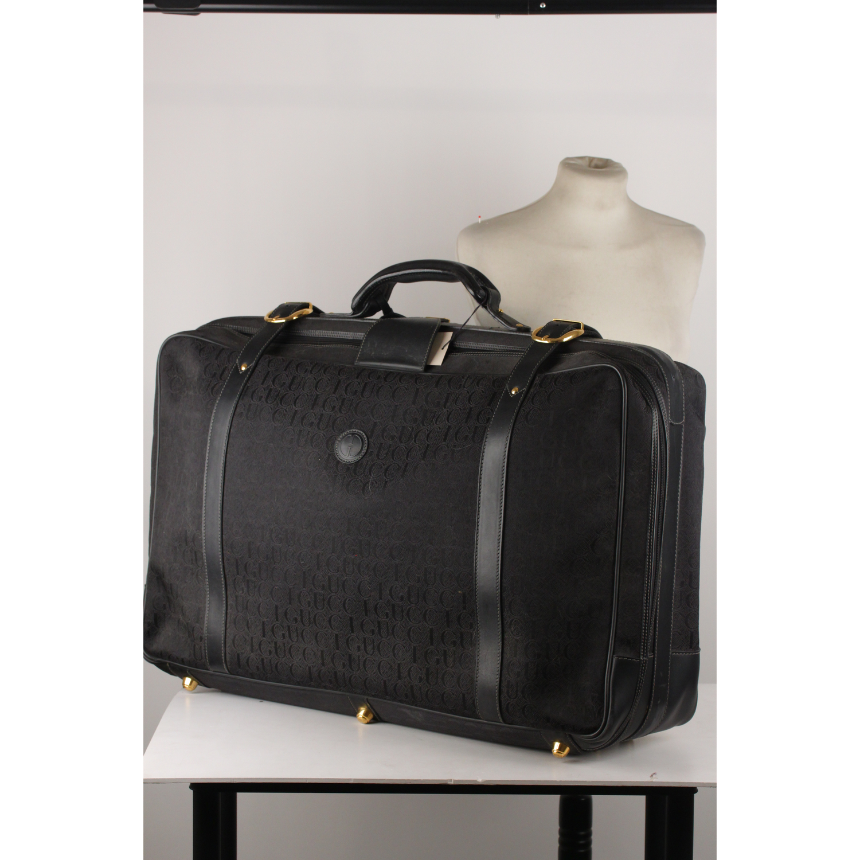 33b99eec5a13 Details about Authentic Gucci Vintage Black Logo Canvas Suitcase Travel Bag  Luggage