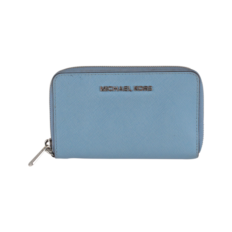 4428193b7659 Michael Kors 'Jet Set' Travel Phone Wallet - Light Blue Saffiano leather - Silver  metal hardware - Zip around closure - 1 phone pocket