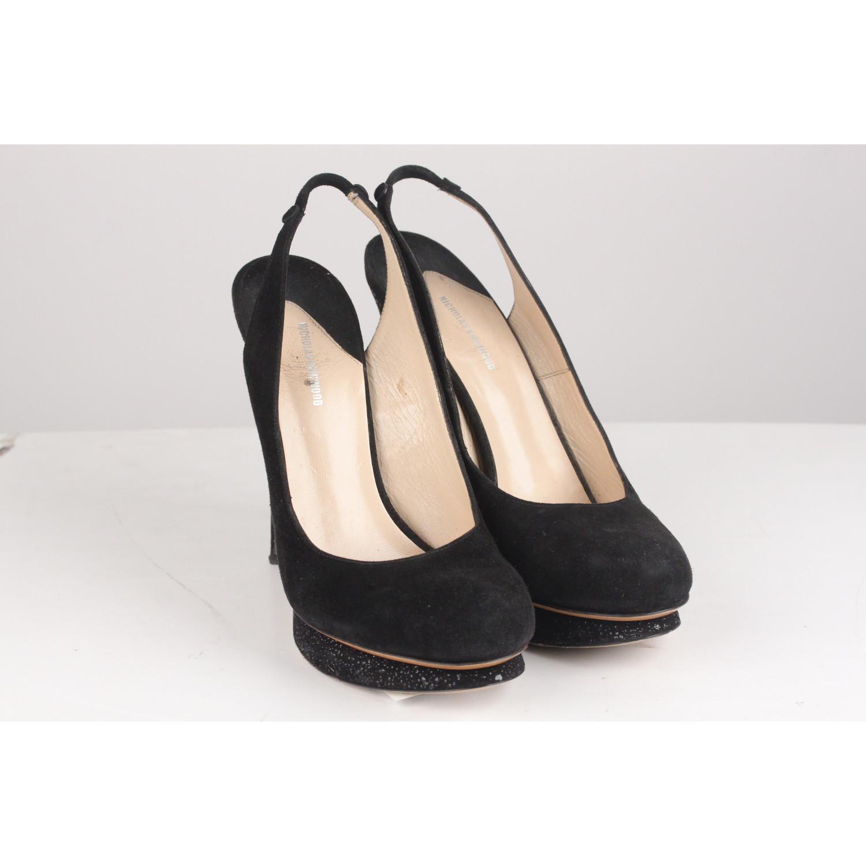 07c76d462a Details about Authentic Nicholas Kirkwood Black Suede High Heels Slingback  Shoes Size 39
