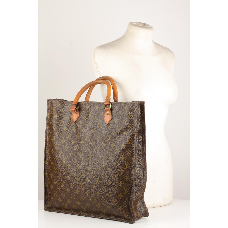51e1e476aa62 Details about Authentic Louis Vuitton Vintage Brown Monogram Sac Plat GM Tote  Bag Handbag