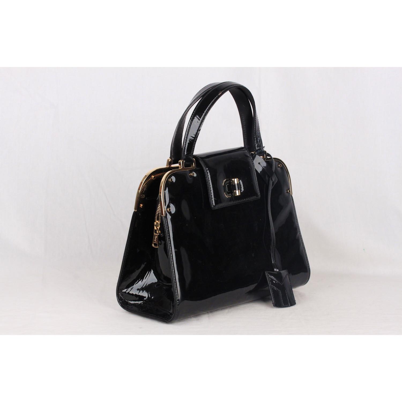 Authentic YVES SAINT LAURENT Black Patent Leather UPTOWN Bag HANDBAG ... 38daba0839d2c