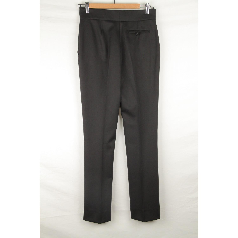 29d2d5a97512 Details about Authentic VALENTINO Black Wool CENTRAL PLEAT PANTS Trousers  Size 6