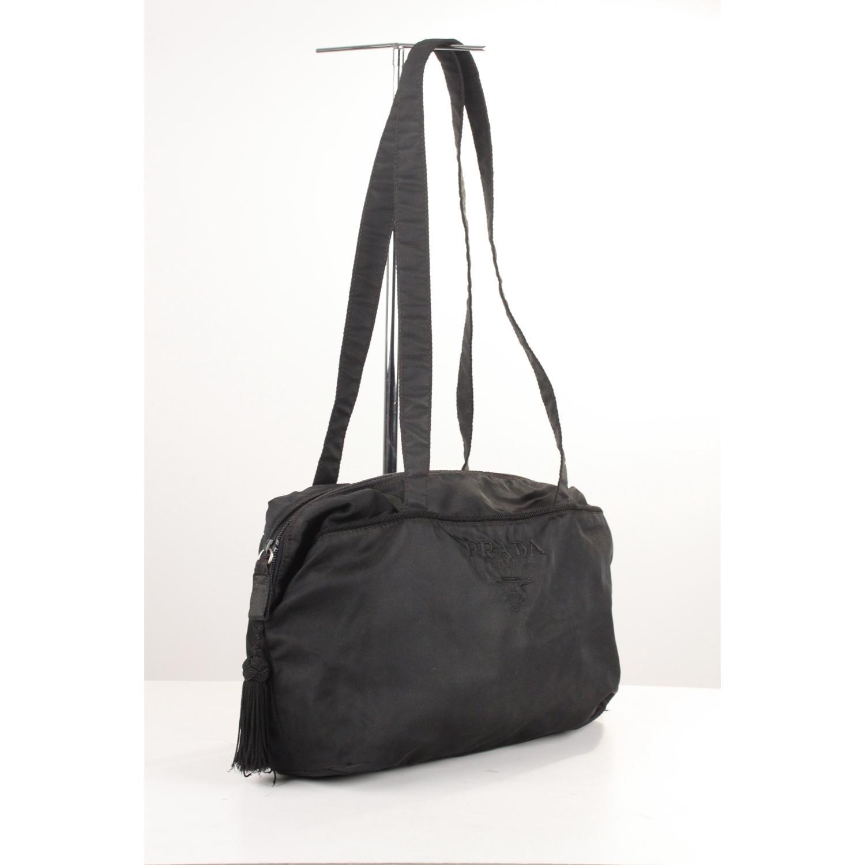 3d59e3f2edd0bc ... closeout prada vintage black nylon tessuto tassel shoulder bag 4c9b0  3300d