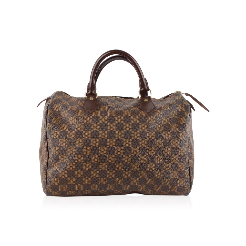 9cb925173f2 Details about Authentic Louis Vuitton Brown Damier Ebene Canvas Speedy 30  Handbag