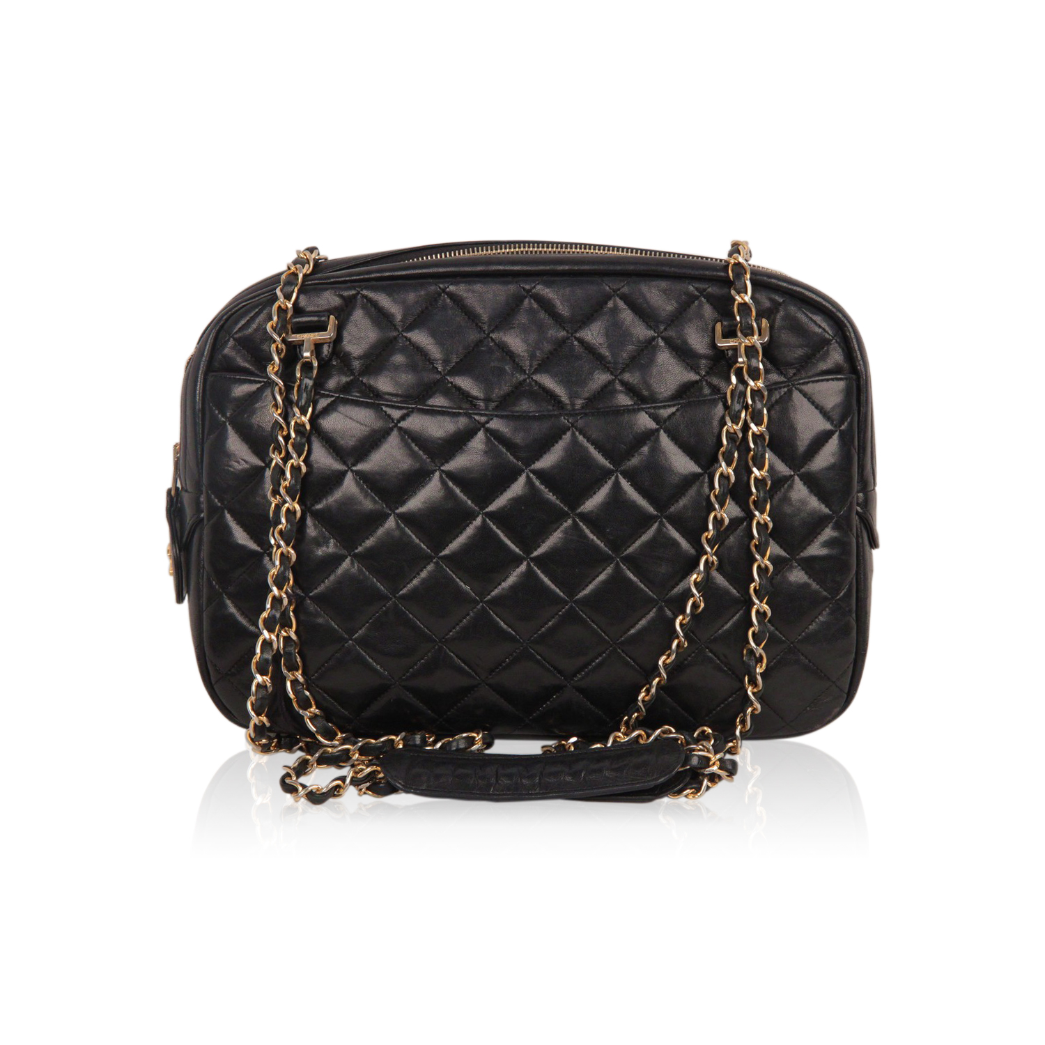 Image Is Loading Authentic Chanel Vintage Black Quilted Leather Large Camera