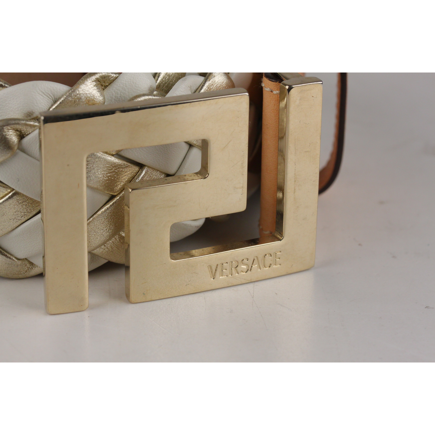 54b8c7e23 White & Light gold leather VERSACE waist belt - Braided design and studs  detailing - Gold metal buckle with engraved VERSACE signature - Width: 1  1/2 inches ...